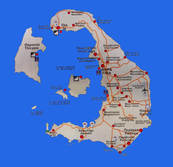 Detailed Map Of Santorini Island